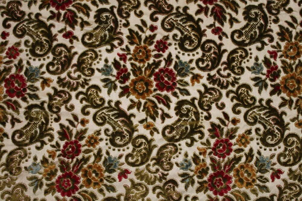 Victorian cut velvet 24 x54 upholstery fabric heavy for Victorian floral fabric