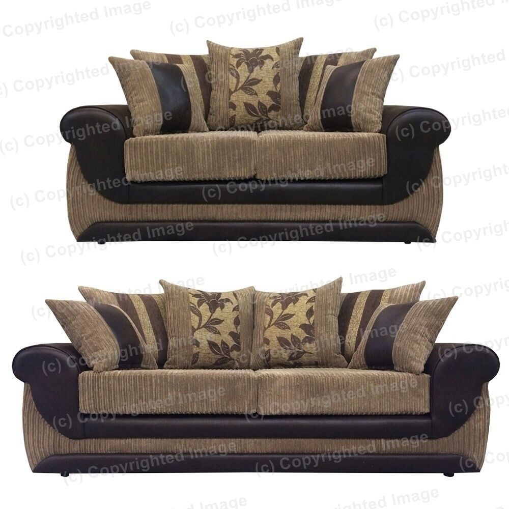 Kirk 2 And 3 Seat Sofa Brown Faux Leather And Beige Jumbo