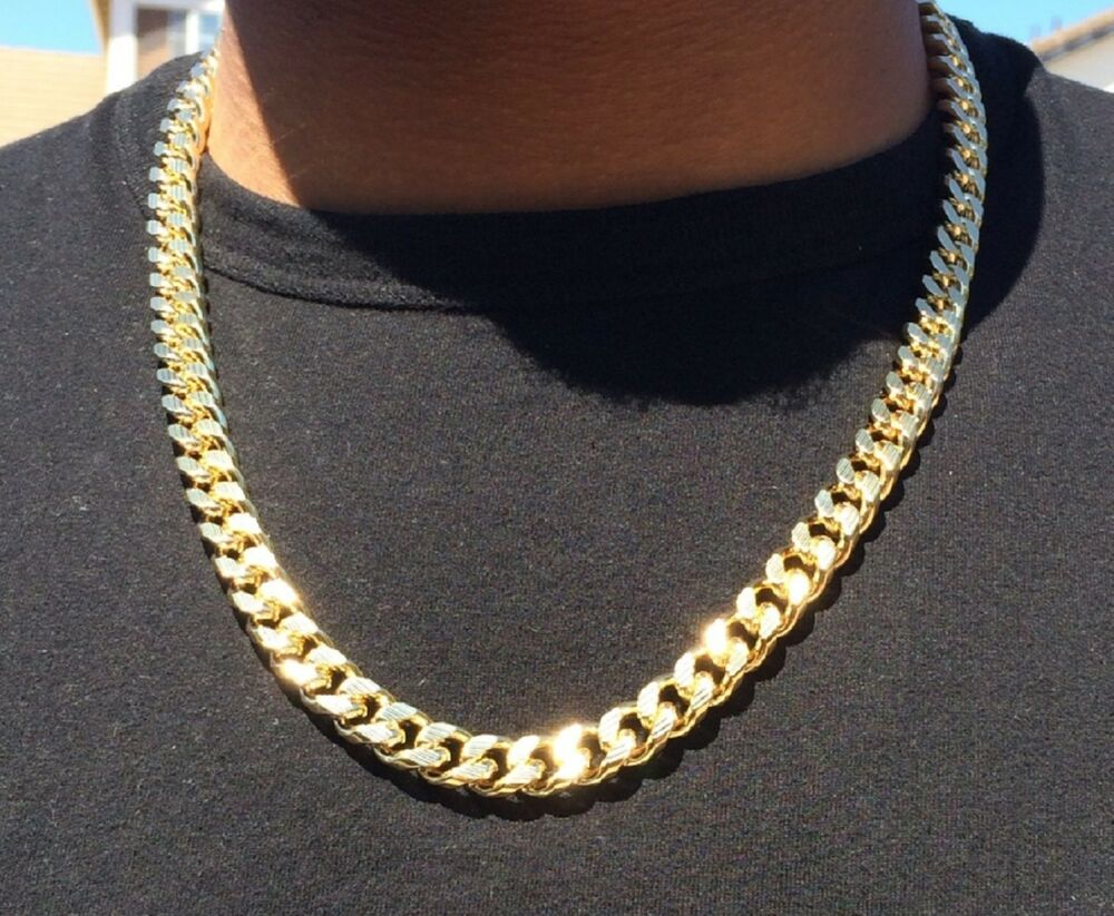 14k Gold Plated Cuban Link Heavy 24inch Curb Chain With
