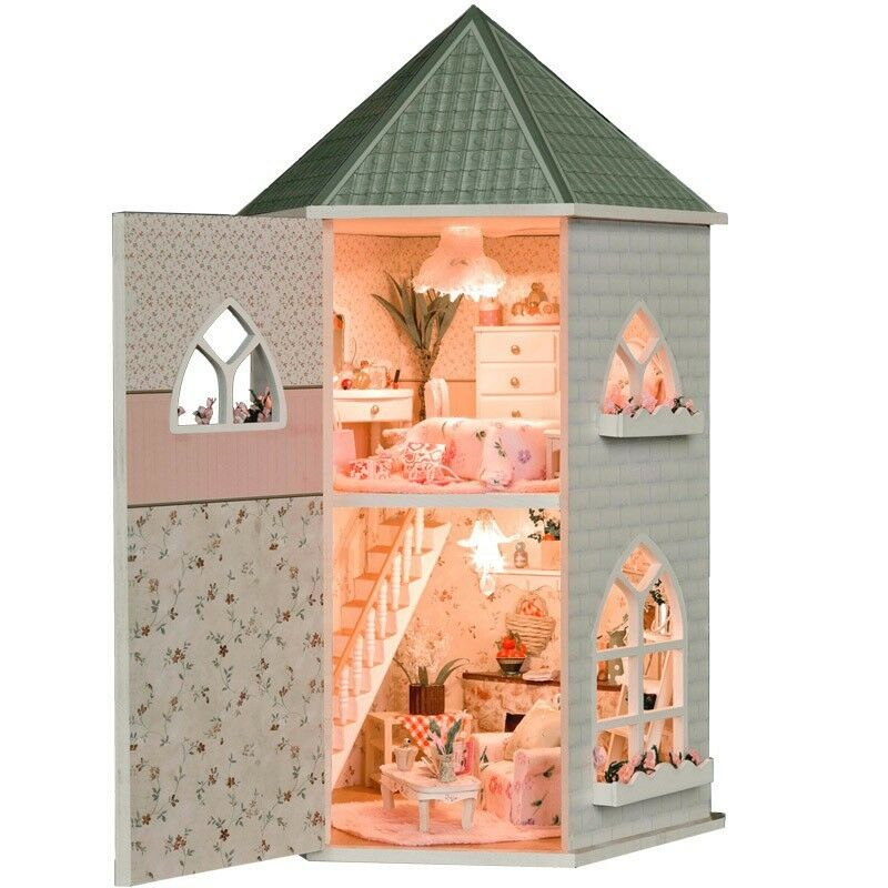 Kits Love Castle Diy Wood Dollhouse Miniature With Light And Furniture Ebay