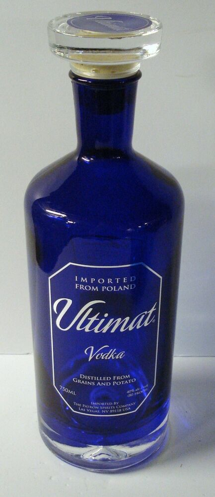 Cobalt Blue Ultimat Vodka Glass Bottle Stopper Empty Imported from ...
