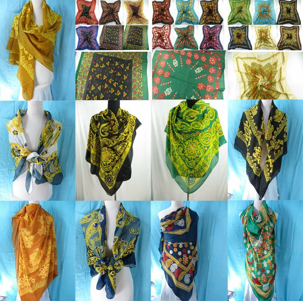 us seller lot of 5 wholesale bulk fashion scarves square