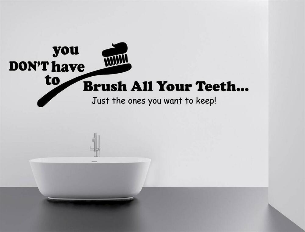 Brush Your Teeth Quotes: BRUSH YOUR TEETH Decal WALL STICKER Quote Home Decor Art