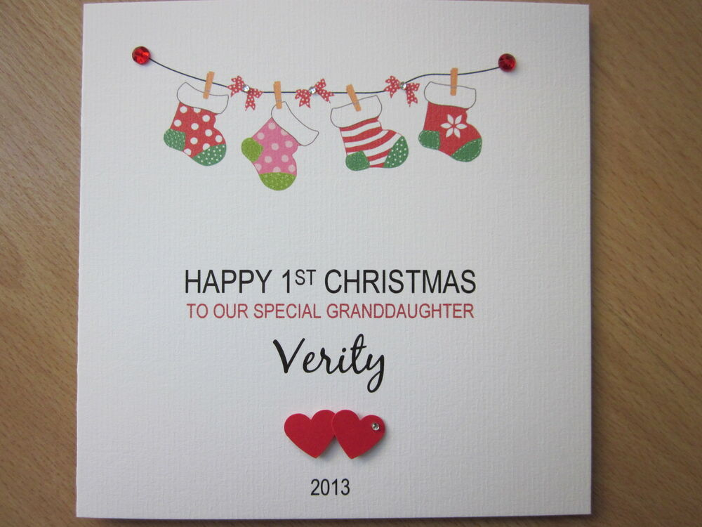 Personalised Handmade Baby's 1st First Christmas Card ...