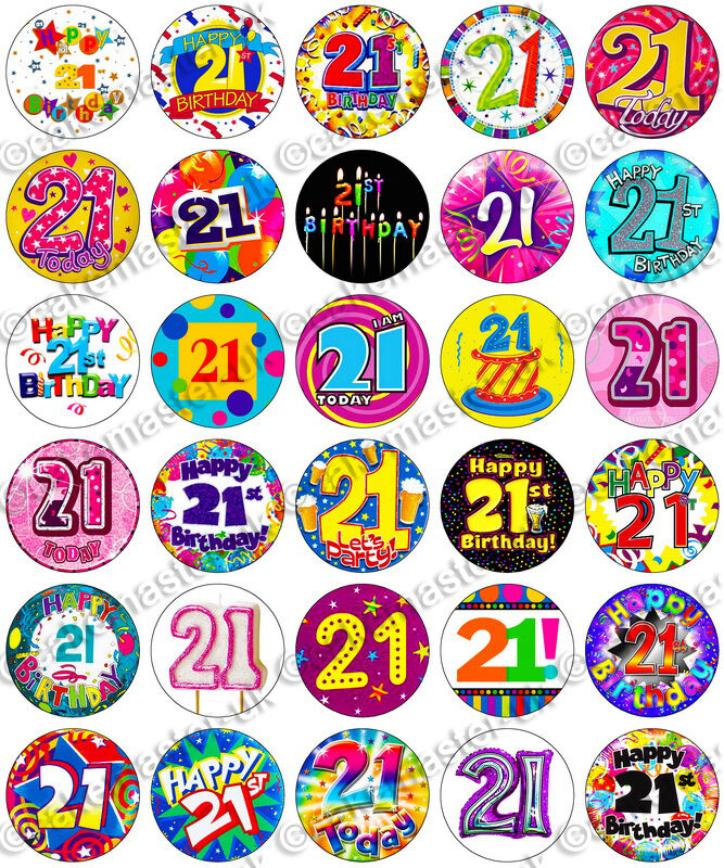 30 X 21st Birthday Party Edible Rice Wafer Paper Cupcake