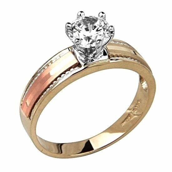 14k solid tri color gold 1 ct vs1 simulated
