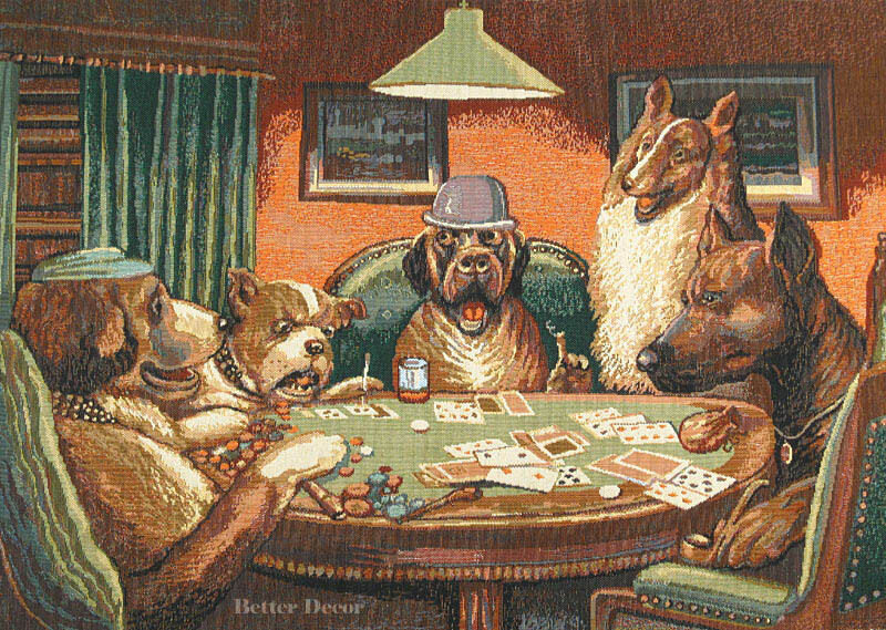 wall woven tapestry dogs playing poker european game room