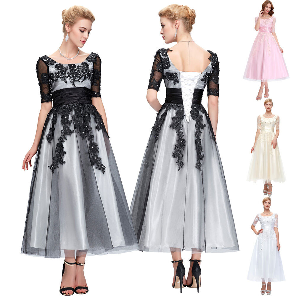 Womens long lace wedding bridesmaid dresses formal evening for 1950s style wedding dresses for sale