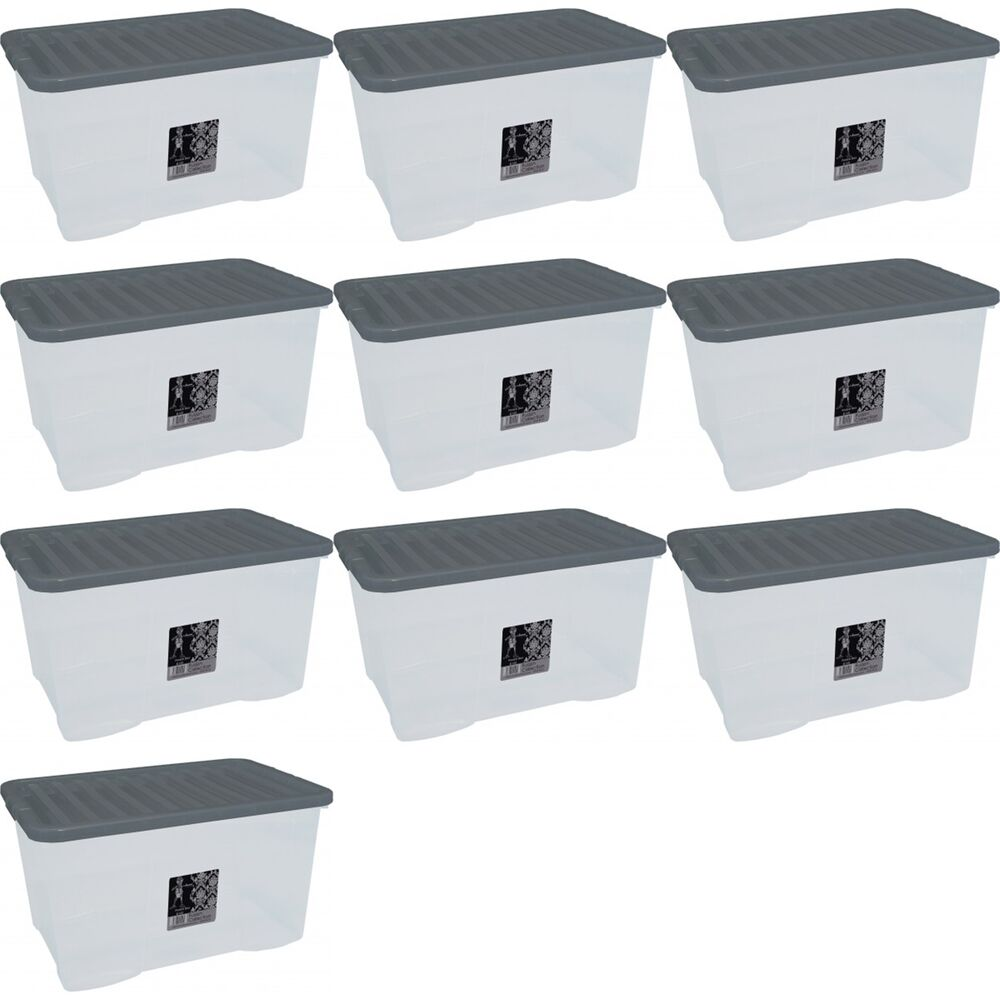 10 x 45l container plastic storage box large 45ltr litre. Black Bedroom Furniture Sets. Home Design Ideas