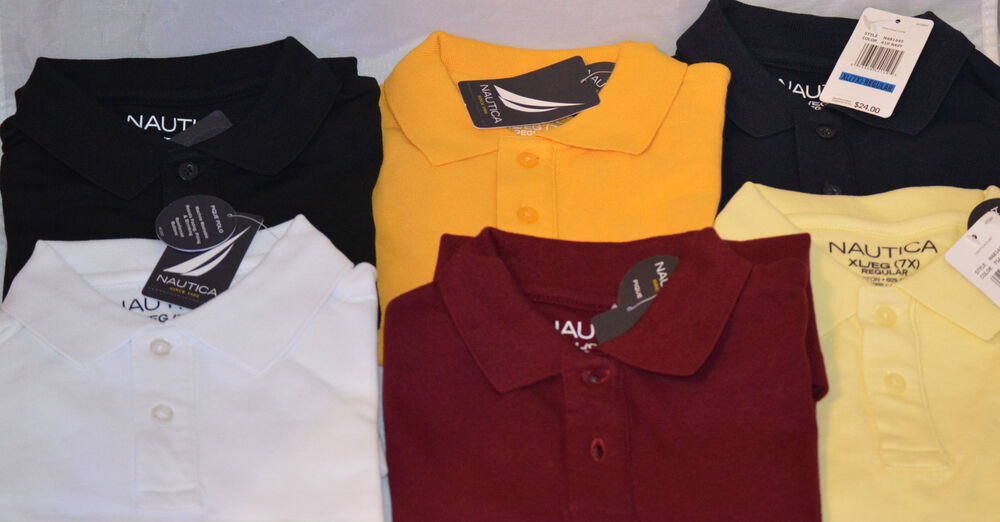 Nautica polo shirt boys kids blue black yellow gold white Burgundy polo shirt boys