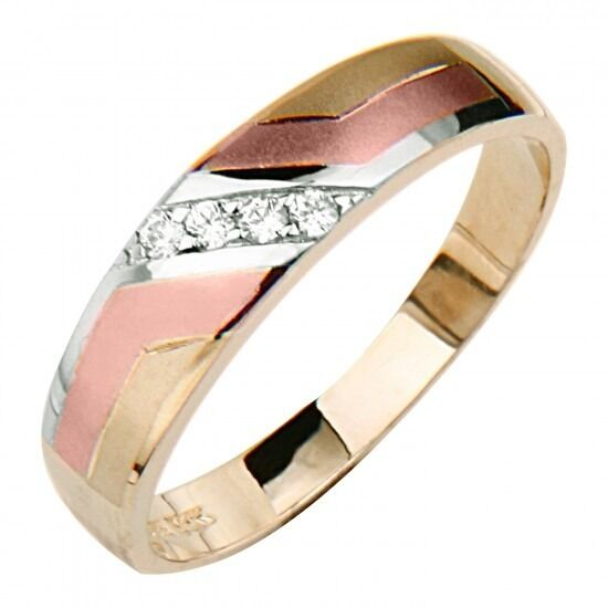14K Tri Color Gold 10 Ct Simulated Diamond Wedding Band Womens Mens Ring