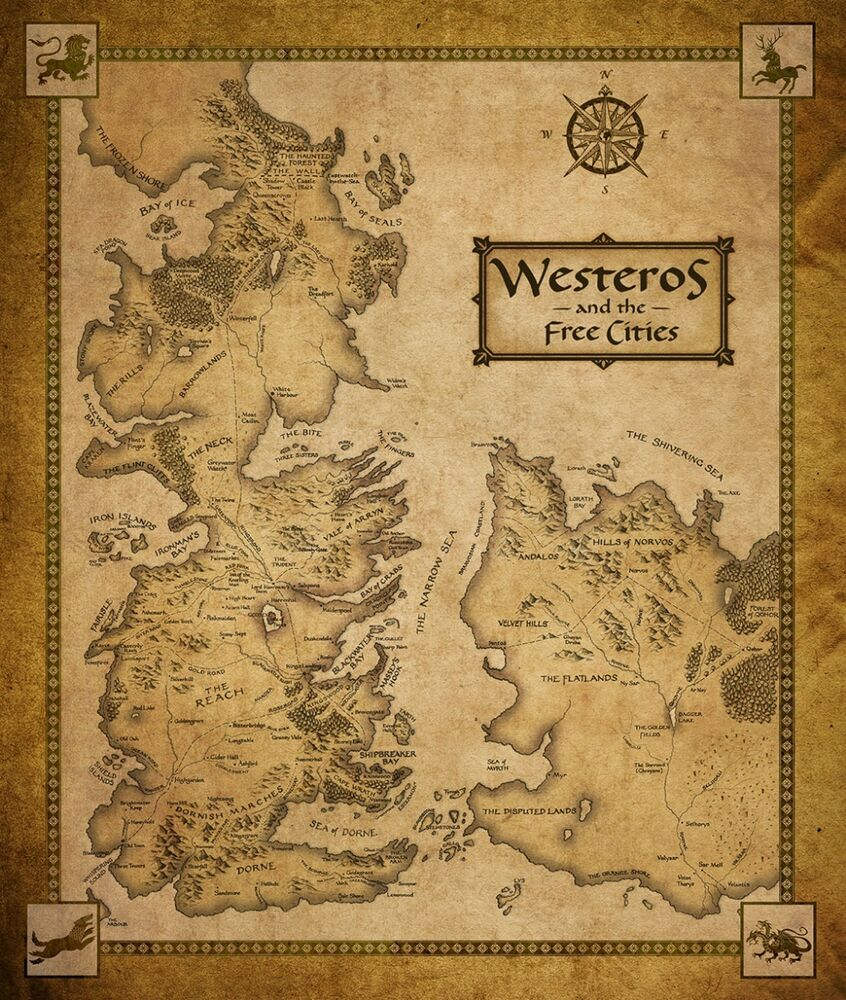 Game of thrones houses map westeros tv show fabric poster for Decoration murale game of thrones