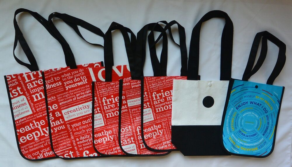 Lululemon Reusable Shopping Bag Lot Of 7 Large Amp Small Red
