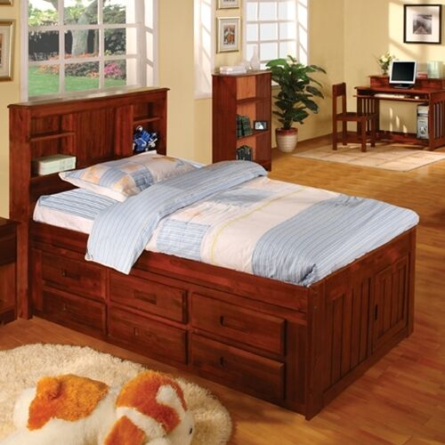 Kids Bedroom Set Clearance: Discovery World Furniture Merlot Bookcase Captains Bed