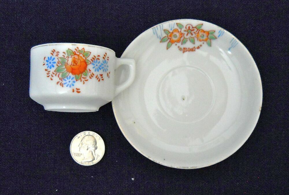 Miniature Mini Cup Saucer Demitasse Small Flowers Made In