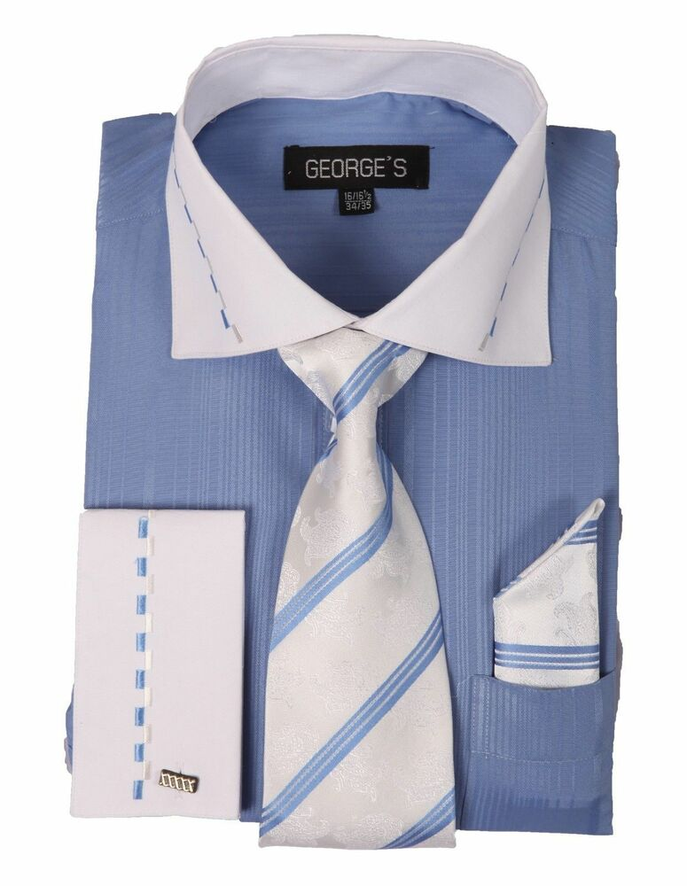 Men 39 s fashion dress shirt with tie hanky two tone color for White non iron dress shirts