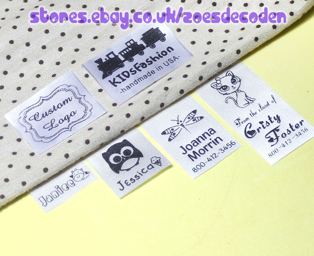 30x custom clothes logo label sew in hanging tag fabric for Sew in craft labels