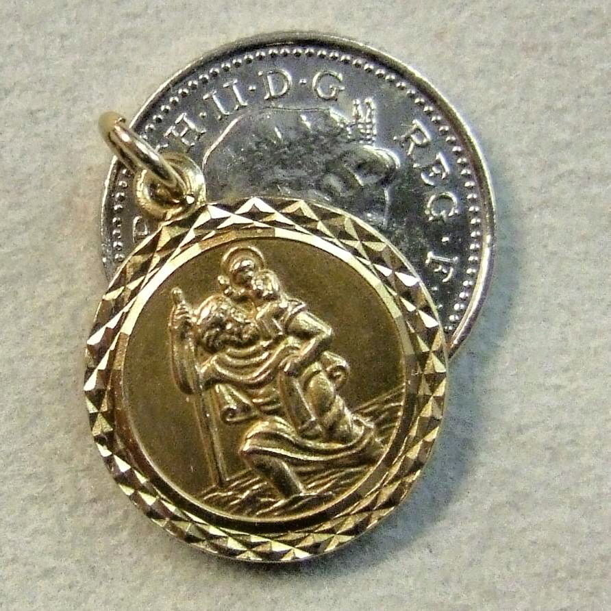 9 ct gold second hand st christopher disc ebay for Second hand ohrensessel