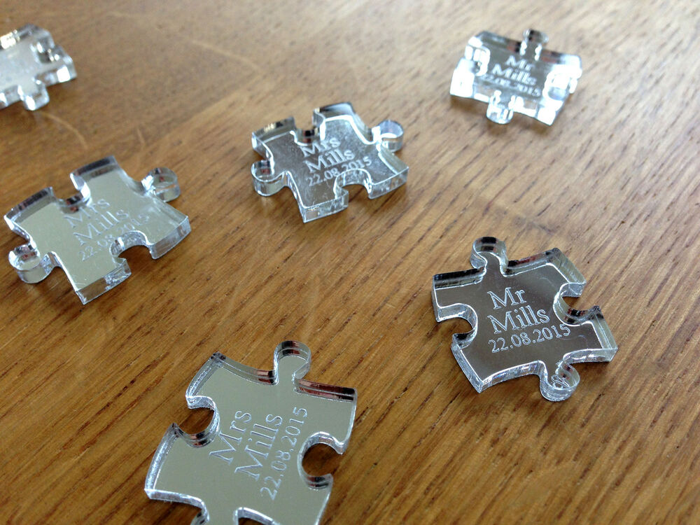 Personalised Wedding Table Gifts : Personalised Silver Mirror Puzzle Piece Wedding Table Decoration ...