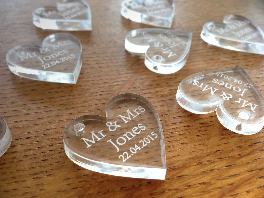 Personalised crystal clear hanging large heart wedding for Wedding table favours
