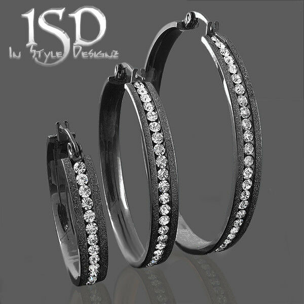 black earrings for womens stainless steel womens black sparkle hoop earrings 5250