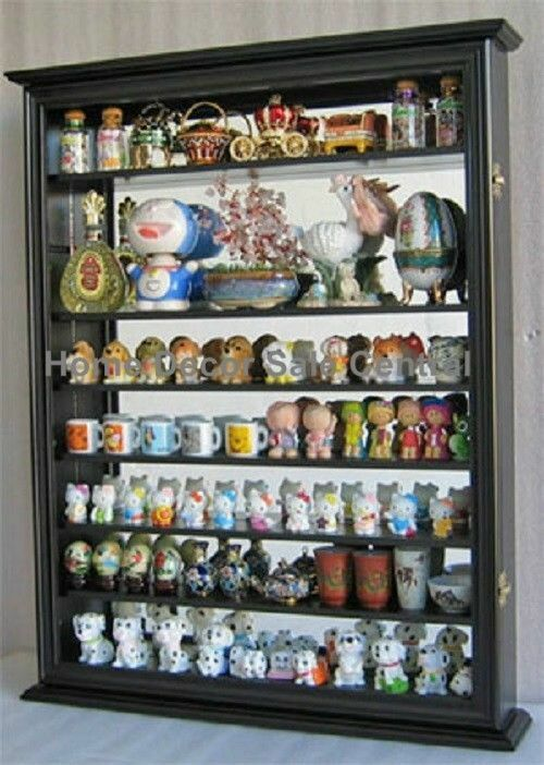 New Black Wall Cabinet Display Case Knick Knacks Curio