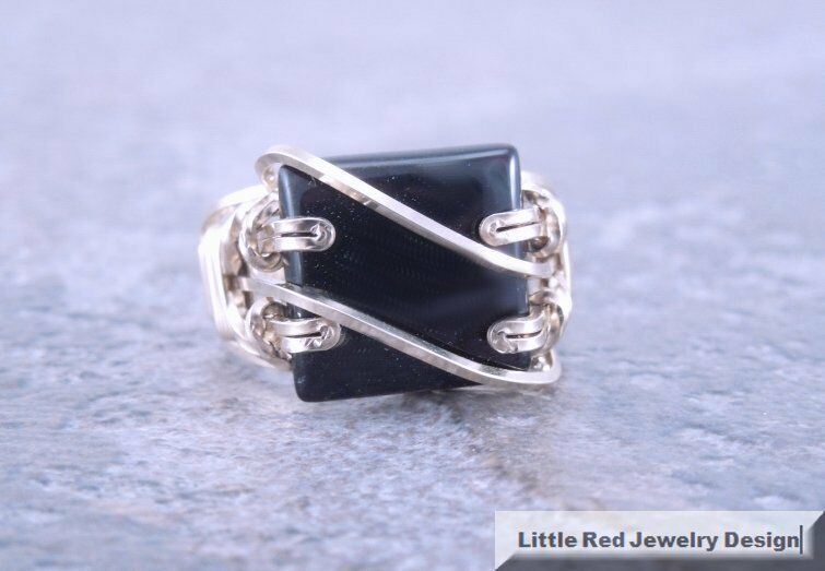 14 K Gold Filled Square Black Onyx Wire Wrapped Ring Ebay