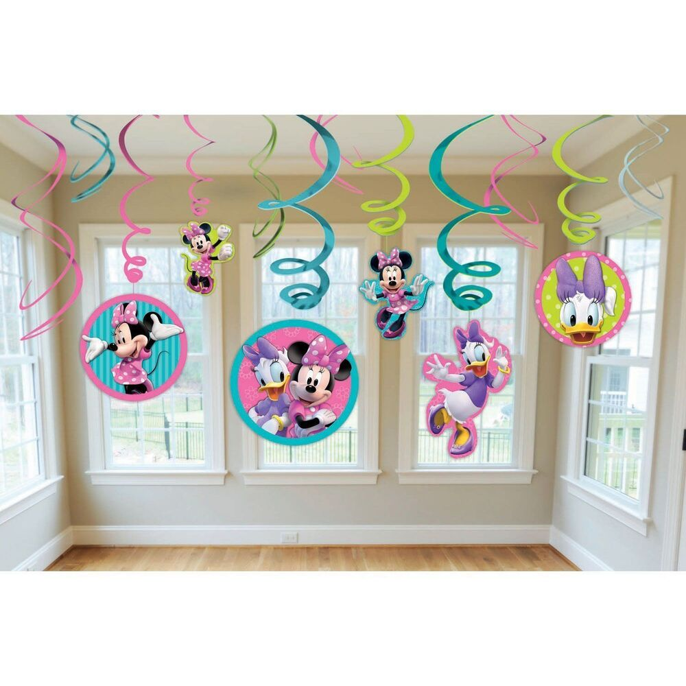 12 pc disney minnie mouse hanging swirls birthday for Decoration stuff