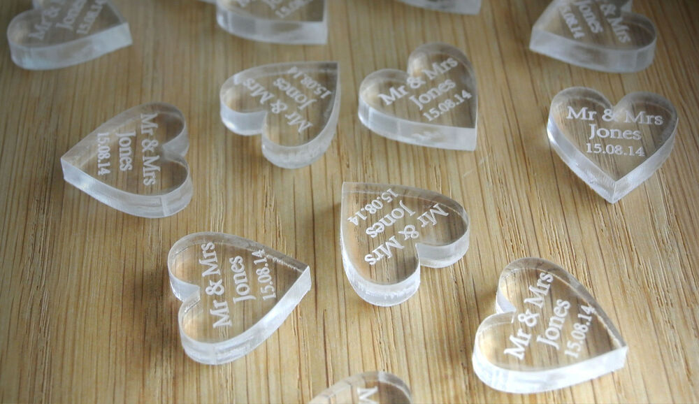 Personalised crystal clear laser cut heart wedding table for Wedding table favours
