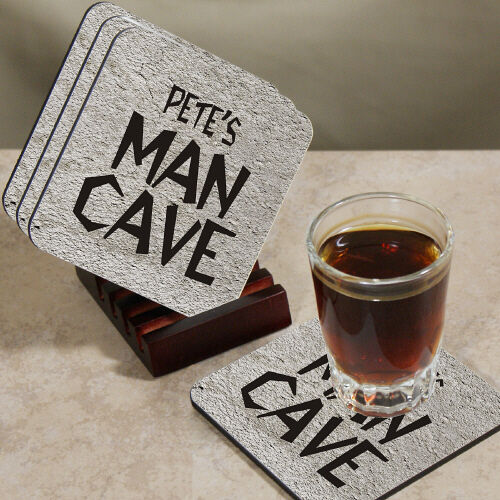 Man Cave Coasters : Personalized quot man cave wood drink coasters with holder