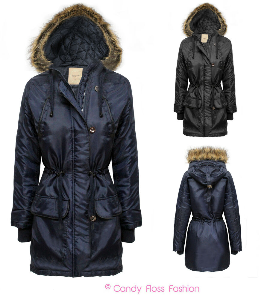 LADIES PARKA JACKET QUILTED FUR HOODED ZIP WOMENS TOGGLE ...