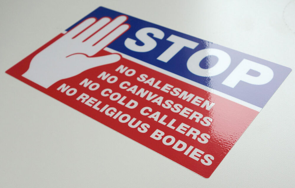 Stop cold calling door sticker no canvassers callers sales uv laminated sign