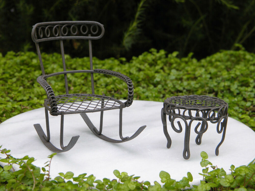 Details About Miniature Dollhouse Fairy Garden Furniture Rustic Iron Rocking Chair Table Set