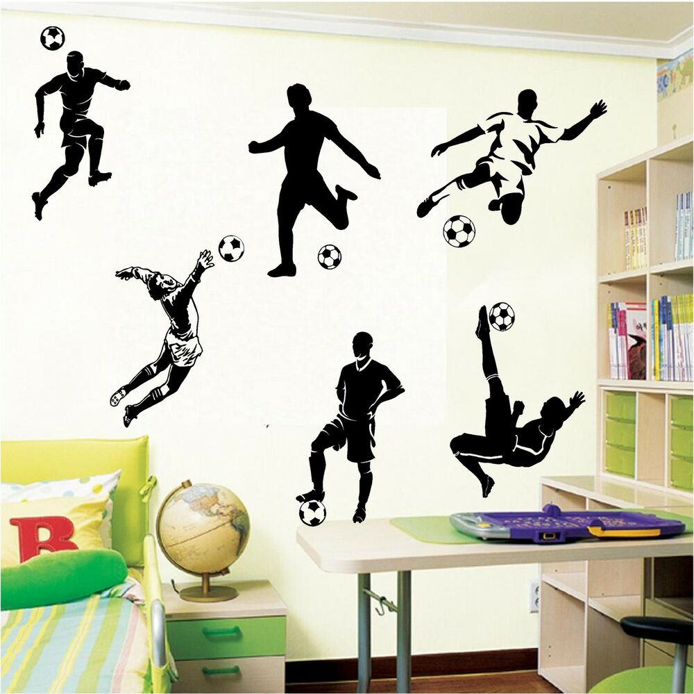 6 football footballers wall art boys bedroom wall stickers for Boys wall art