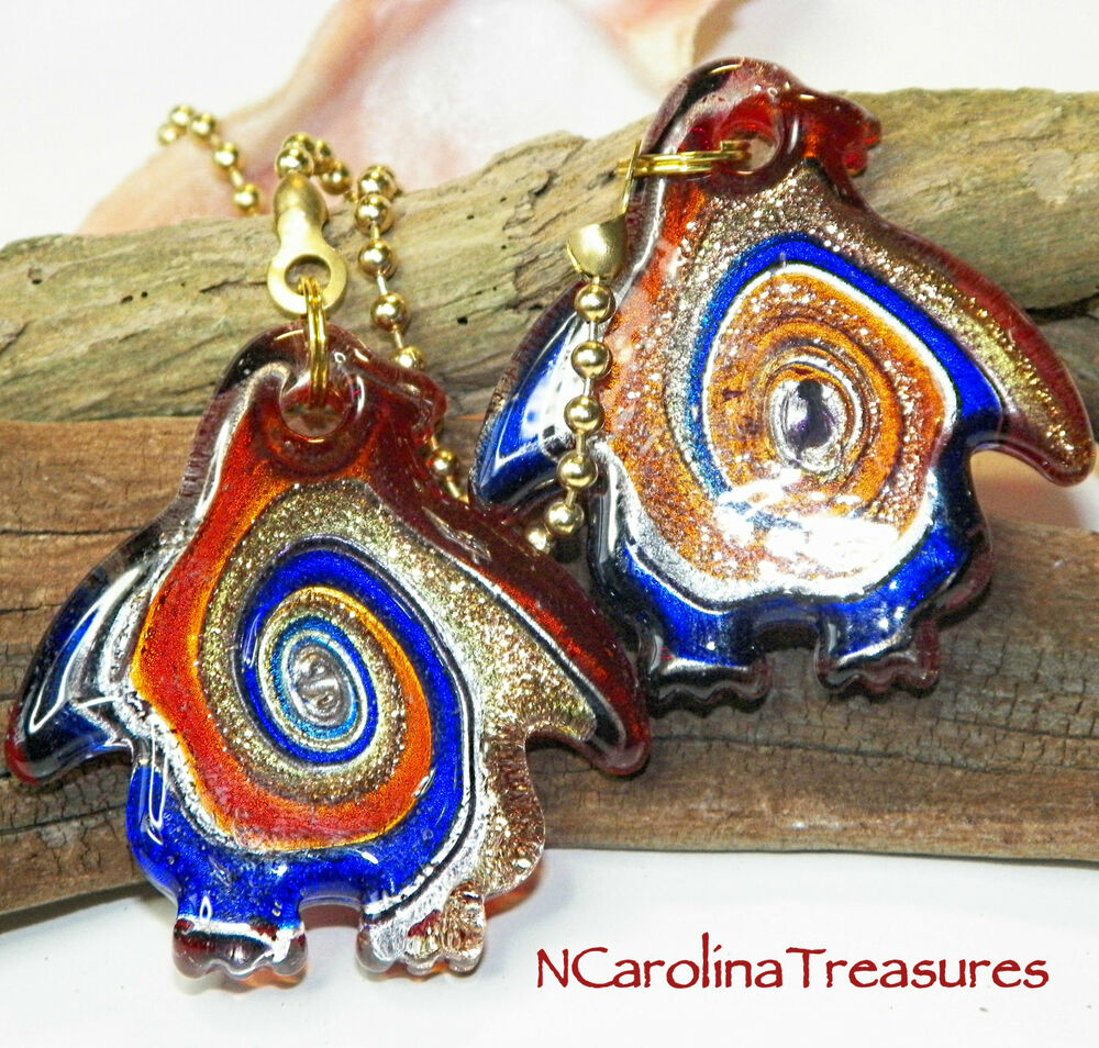 Large Glass Ceiling Fan Pulls: MURANO GLASS CEILING FAN SWITCH PULL RED BLUE PENGUIN