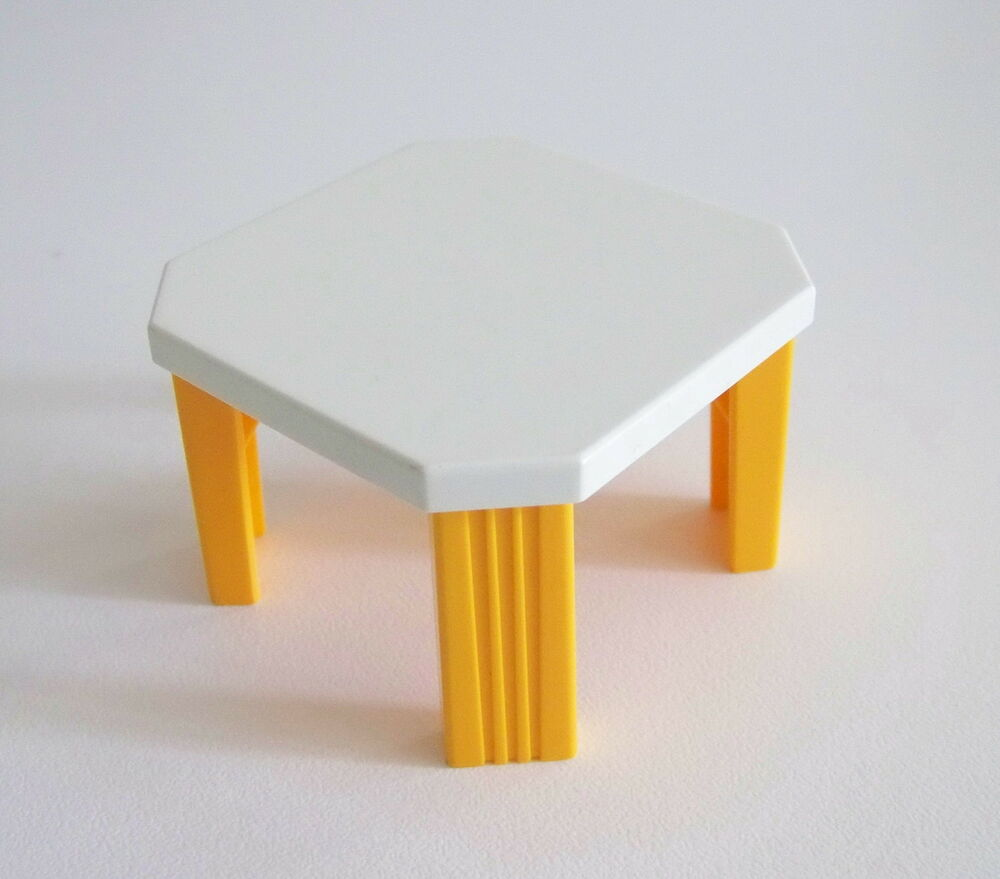 Playmobil r245 maison moderne table blanche orange for Table playmobil