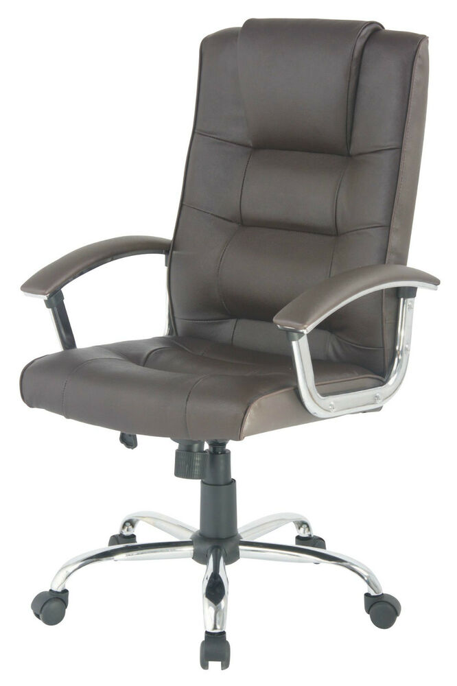 berlin leather faced swivel executive business office computer chair in brown ebay. Black Bedroom Furniture Sets. Home Design Ideas