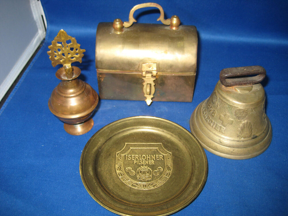 4 antique german embossed brass bell lided box plate for Doorbell in german