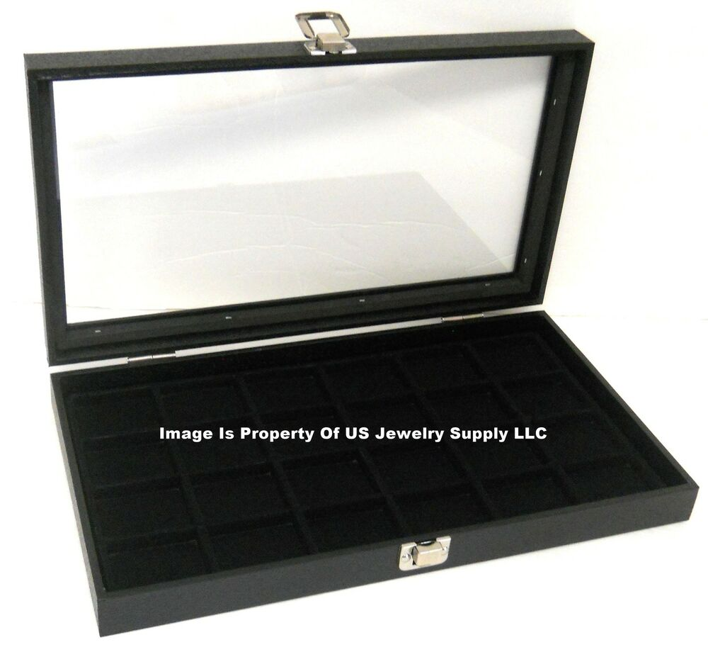 1 Glass Top Lid Black 24 Space Jewelry Display Box Case