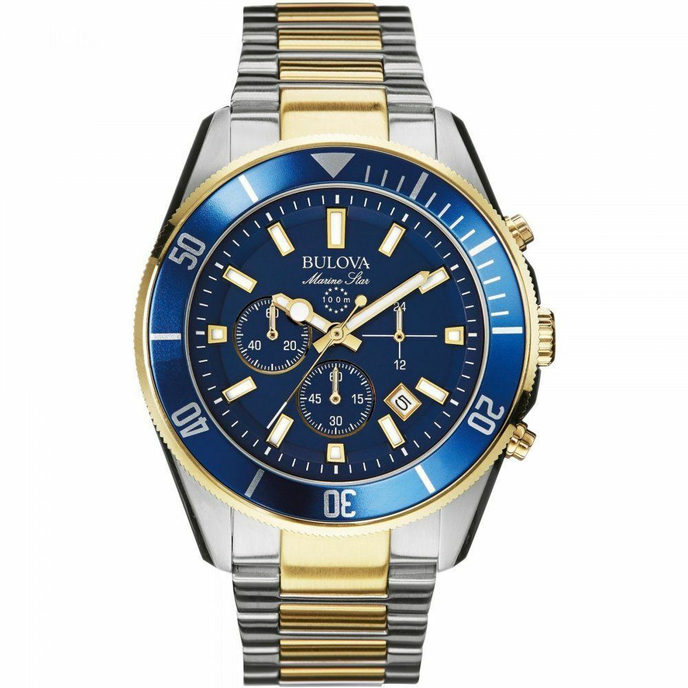 New bulova 98b230 marine star chronograph two tone blue dial men 39 s watch ebay for Marine watches