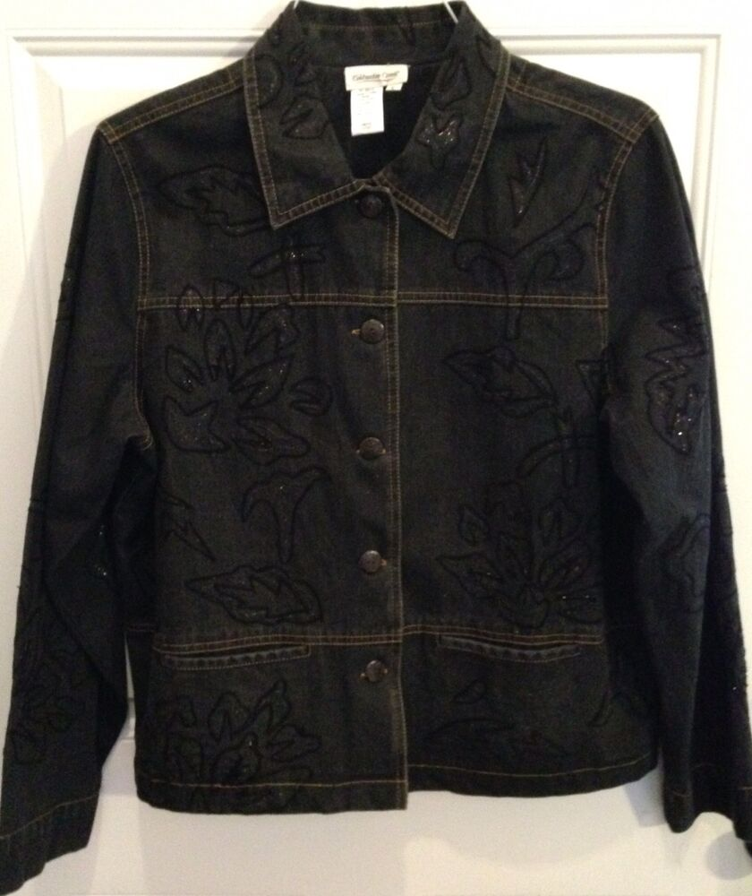 Coldwater creek sz large denim jacket with embroidered