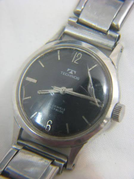 Technos incabloc 17 jewels black dial gents watch ebay for Technos watches