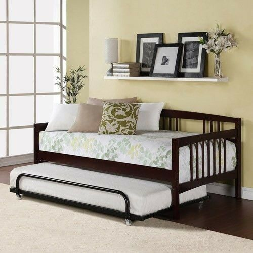 Twin Bed Daybed Espresso Wood Frame Kids Bedroom Guest Bed