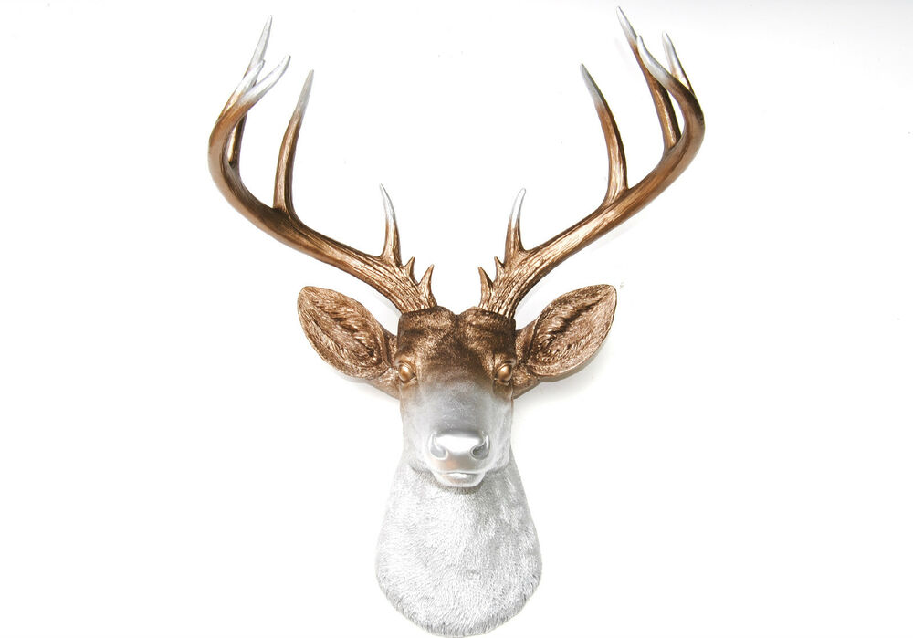 New large deer head bronze silver antlers faux taxidermy wall mount d0910 ebay - Silver stag head wall mount ...