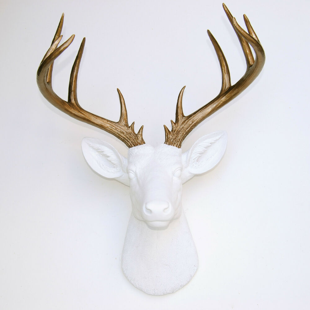 New Large Deer Head White Bronze Antlers Faux
