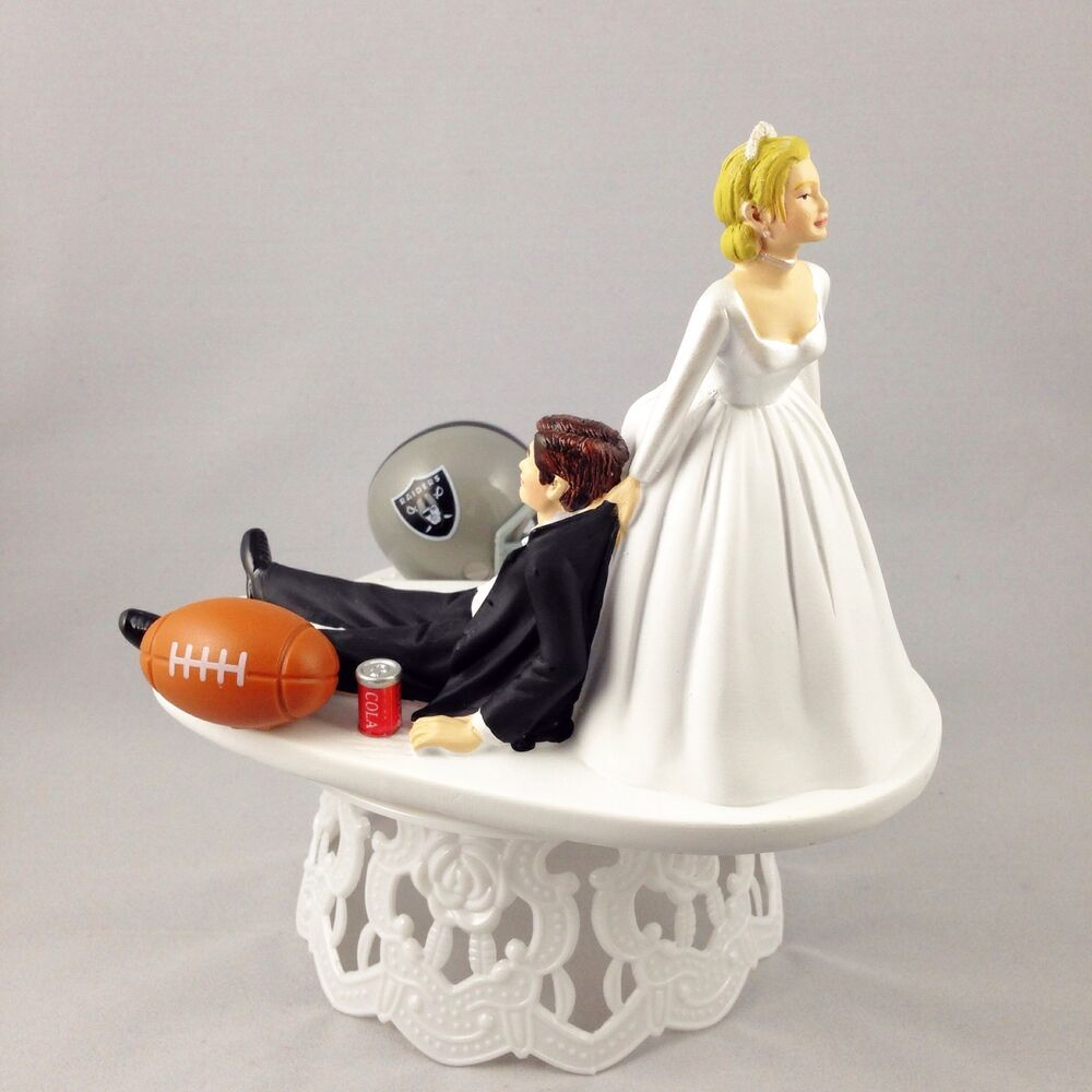 funny wedding cake topper football themed oakland raiders humrous and