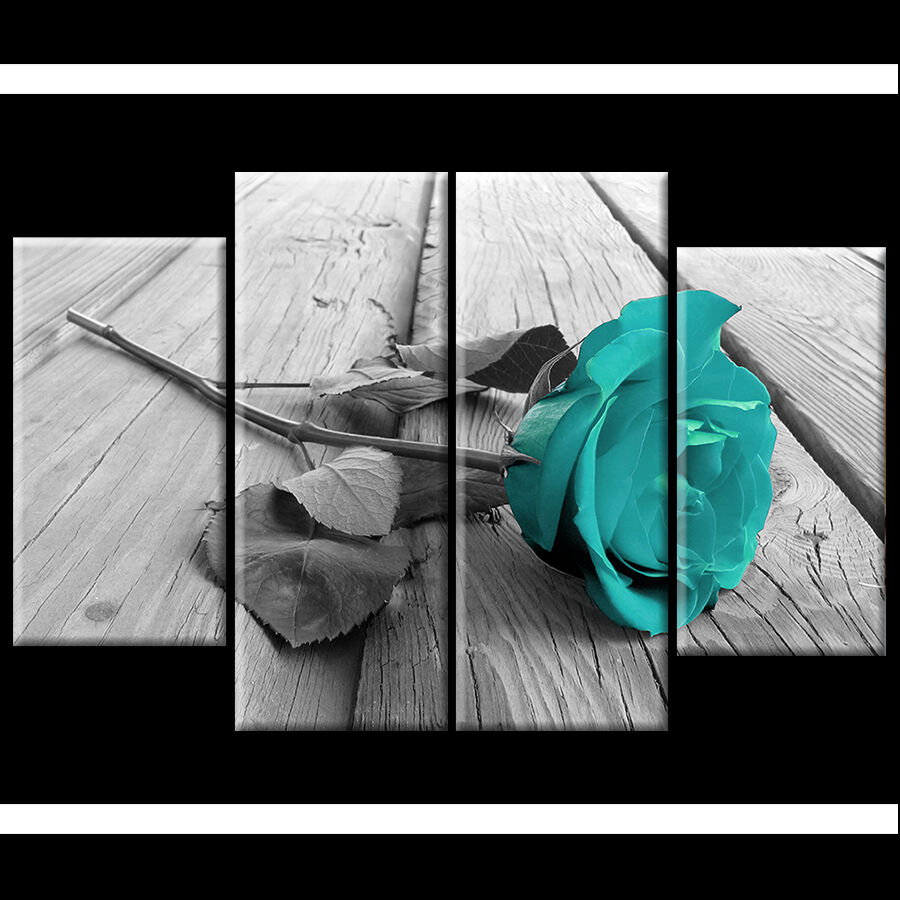 Black White Teal Rose Floral Canvas Wall Art Pictures Wide XL Print Flower Gi