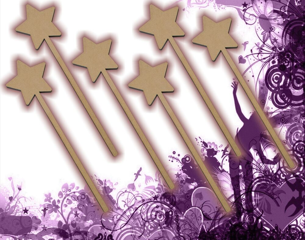 Six 6 fairy wands craft wood mdf girls birthday party for Birthday wand