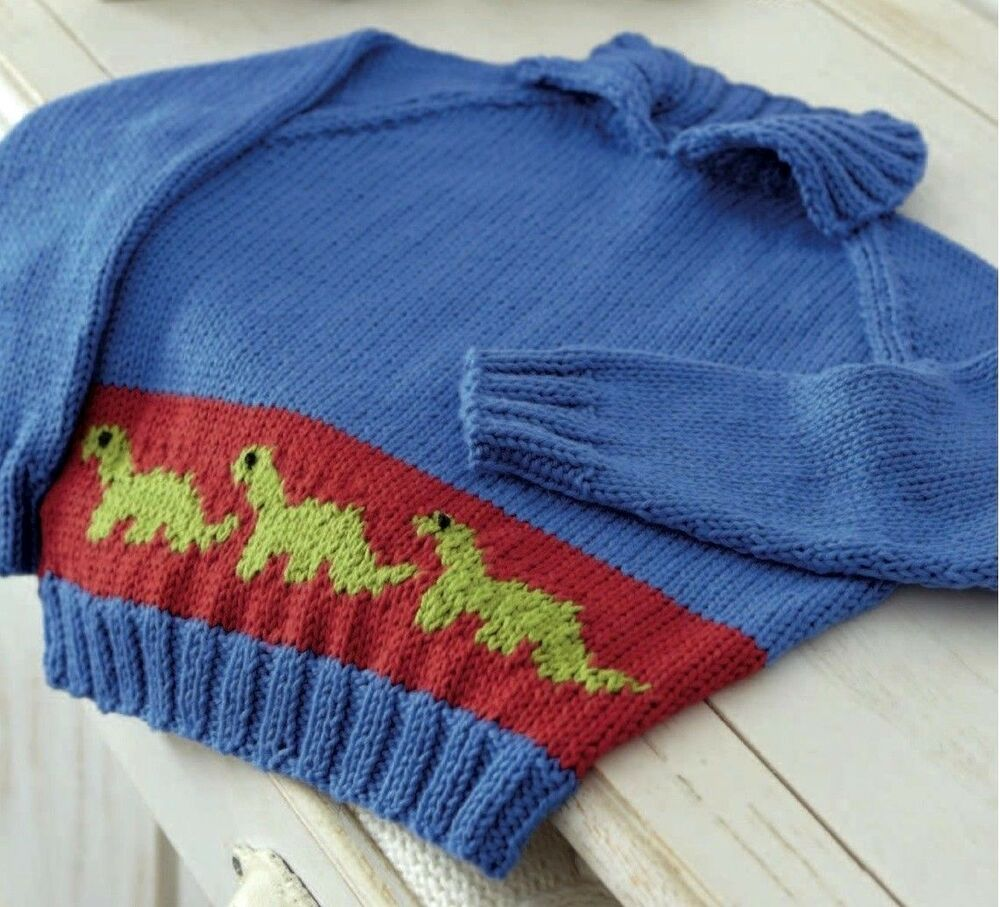 (210) Boys Dinosaur Sweater DK Cotton Knitting Pattern, 2-3yrs eBay