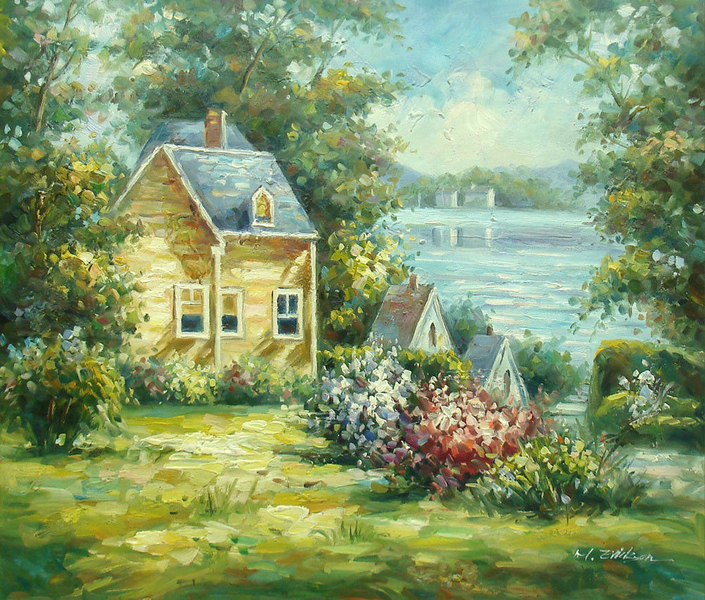 Small Lake Homes: Oil Painting Of Landscape House With Flowers By Small Lake